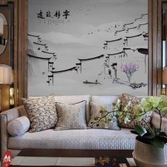 【无纺底棉】科翔中式无缝墙布 颜3-翼遙,定高2.85米 ( Ⅲ)