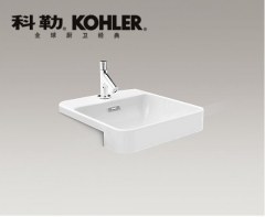 【台盆】科勒拂朗正方形半嵌入式脸盆K-98930X-1-0,420×460×174MM(Ⅰ)