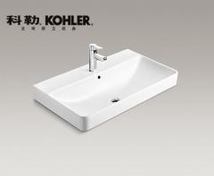【台盆】科勒朗长方形一体化台盆900MM,K-2749T-1/8-0(Ⅰ)