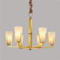 【吊灯】A3可琪洛 8001客厅铜吊灯卧室玻璃罩书房餐厅灯(Ⅴ)