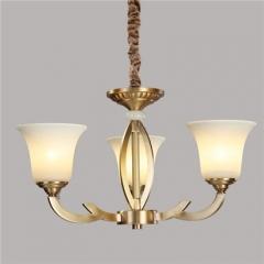 【吊灯】A3可琪洛 8091客厅铜吊灯卧室玻璃罩书房餐厅灯(Ⅴ)