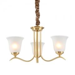 【吊灯】A3可琪洛 T100客厅铜吊灯卧室玻璃罩书房餐厅灯(Ⅴ)