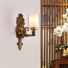 【壁灯】誉美88001-1头 新中式锌合金古典大气客厅壁灯餐厅玻璃灯罩中国风卧室灯(Ⅴ)