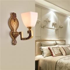 【壁灯】誉美88002-1头 新中式锌合金古典大气客厅餐厅玻璃灯罩壁灯中国风卧室灯(Ⅴ)