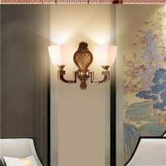 【壁灯】誉美88002-2头 新中式锌合金古典大气客厅餐厅玻璃灯罩壁灯中国风卧室灯(Ⅴ)