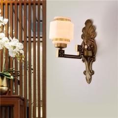 【壁灯】誉美88004-1头 新中式锌合金古典大气客厅餐厅玻璃灯罩壁灯中国风卧室灯(Ⅴ)