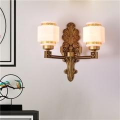 【壁灯】誉美88004-2头 新中式锌合金古典大气客厅餐厅玻璃灯罩壁灯中国风卧室灯(Ⅴ)