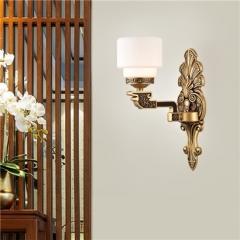 【壁灯】誉美88007-1头 新中式锌合金古典大气客厅餐厅玻璃灯罩壁灯中国风卧室灯(Ⅴ)