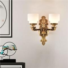 【壁灯】誉美88007-2头 新中式锌合金古典大气客厅餐厅玻璃灯罩壁灯中国风卧室灯(Ⅴ)