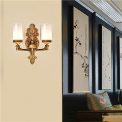 【壁灯】誉美88008-2头 新中式锌合金古典大气客厅餐厅玻璃灯罩壁灯中国风卧室灯(Ⅴ)