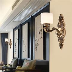 【壁灯】誉美88017-1头2头 新中式锌合金古典大气客厅玻璃灯罩中国风卧室灯(Ⅴ)