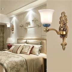 【壁灯】誉美88038-1头2头 新中式锌合金陶瓷古典大气客厅玻璃灯罩壁灯中国风卧室灯(Ⅴ)