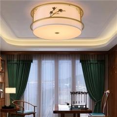 【吸顶灯】誉美Y007-50cm-66cm 新中式铁艺锌合金布布罩卧室书房餐厅客厅吸顶灯(Ⅴ)