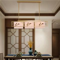 【吸顶灯】誉美Y007-3头 新中式铁艺锌合金布布罩卧室书房餐厅客厅长方形吸顶灯(Ⅴ)