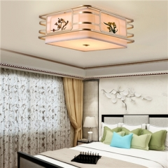 【吸顶灯】誉美Y008-45cm-87cm 新中式铁艺锌合金布布罩卧室书房餐厅客厅方形吸顶灯(Ⅴ)