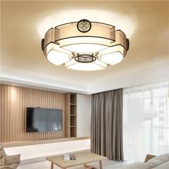【吸顶灯】贺曼2810   新中式客厅铁艺圆形餐厅艺术个性手工布艺灯罩吸顶灯(Ⅴ)