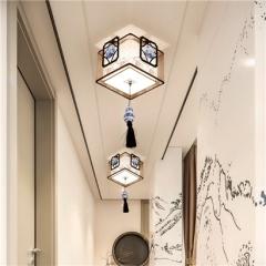 【吸顶灯】贺曼2809  新中式书房铁艺正方艺术个性手工布艺灯罩吸顶灯(Ⅴ)