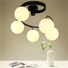 【吸顶灯】贺曼照明5013  美式风格铁艺客厅玻璃餐厅卧室玻璃吸顶灯(Ⅴ)