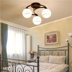 【吸顶灯】贺曼照明2812  美式卧室铁艺书房玻璃田园吸顶灯(Ⅴ)