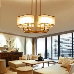 【吸顶灯】贺曼2803    新中式餐厅铁艺书房正方形布艺灯罩吸顶灯(Ⅴ)