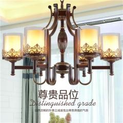 【吊灯】异虎7998016-6H美式卧室铁艺吊灯美式书房玻璃吊灯(Ⅴ)