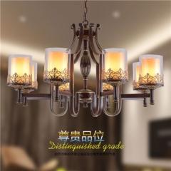 【吊灯】异虎7998016-8H美式餐厅铁艺吊灯美式卧室玻璃吊灯(Ⅴ)
