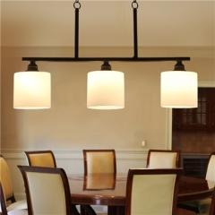 【吊灯】异虎72237-3H 美式餐厅铁艺吊灯美式书房玻璃吊灯(Ⅴ)