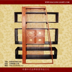 【书柜】海菱非洲紫檀+非黄明式梯形书柜H-000045,160*24*200cm(IV)