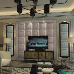 【瓷砖背景墙】欧卡登电视沙发艺术组合背景墙 盛世豪庭 (Ⅲ)