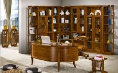 【书房家具】生态家乌金木转角书柜,书桌(Ⅲ)