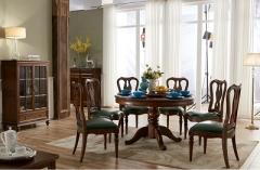 【餐厅家具】生态家橡木PF圆餐桌RS809#、D081B#书椅(Ⅲ)